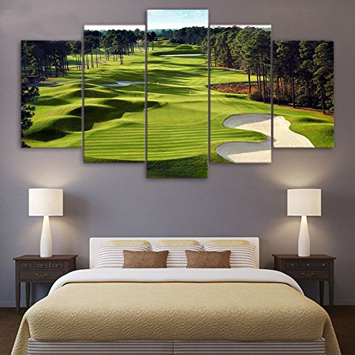 Golf Course (Canvas Paintings Printed 5 Pieces Golf Course Wall Art Canvas Pictures For Living Room 5 pcs print posters)