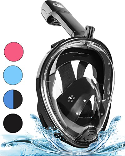 PINKULL Full Face Snorkel Mask - 180° Panoramic Full Face Design with Larger Viewing Area & Easier Breathing, Easily Adjustable & Anti-Fog Anti-Leak Snorkeling Set with Camera Mount for Adults & Kids
