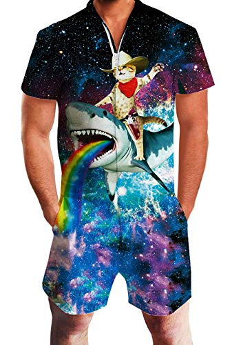 Mens Novelty Short Sleeve Rompers Galaxy Captain Cat Riding Shark One Piece Slim Fit Outfits 80S Bro Short Sleeve Overalls Zip Up Onesie Adult Coverall Pants
