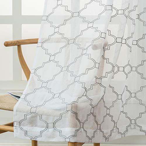 Jinlei Moroccan Embroidered Sheer Curtains for Bedroom White Voile Drapes for Living Room 52 X 63 inch Rod Pocket Set of 2 Curtain Panels White (Bedroom Moroccan)