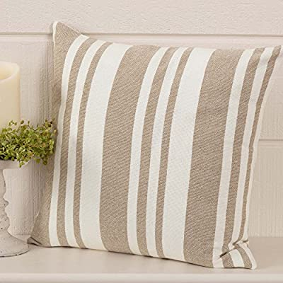 "Piper Classics Wheat Field Throw Pillow Cover, 18"" x 18"", Farmhouse Décor w/Ticking & Grain Sack Stripes, Cream & Taupe - A Piper Classics Original. Designed by and Available Exclusively from Piper Classics. Throw Pillow Cover, 18"" x 18"" , Pillow Insert Not Included. For added fullness select an insert that is 1-2"" larger than your pillow cover. For pillows & shams that are 18""x18"" and larger use an insert that is 2"" bigger and for smaller sizes use an insert that is 1"" larger. 100% Cotton, Winter White and Soft Taupe Tone-On-Tone Grain Sack Stripe Fabric, Reverses to Same Fabric on Back with Wooden Buttons - living-room-soft-furnishings, living-room, decorative-pillows - 51DlO15HRXL. SS400  -"