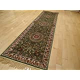 Stunning Luxury Silk Rugs Persian Qum Style Long 2x12 Area Rugs Kenareh Traditional Pattern Green Hallway Rugs Runner 2x12 Feet Long Rugs (2'x12' Hallway Runner)