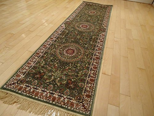 Silk Green Persian Qum Design Hallway Runner 2x8 Rugs 2x7 Narrow Runners Olive Green Rugs Hallways Kitchen Rug (2'x8' Hallway Runner) ()