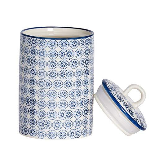 Nicola Spring Hand-Printed Kitchen Utensil Holder – Japanese Style Porcelain Kitchen Storage Canister – Navy – 1L