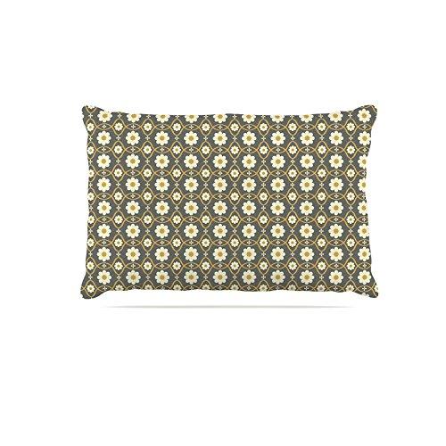 Kess InHouse Nandita Singh Floral Grey  Pattern Fleece Dog Bed, 50 by 60 , Brown