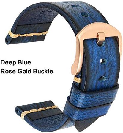 TGBZ ユニバーサル時計手作り時計バンド20ミリメートル21ミリメートル22ミリメートル23ミリメートル24ミリメートルレザー腕時計バンド (Band Color : Blue Rose Gold, Band Width : 19mm)