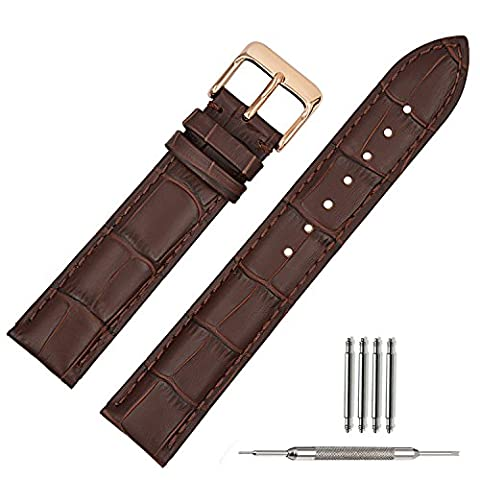 TStrap 20mm Brown Leather Watch Bands Replacement Watch Strap 20mm Rose Gold Watch Buckle Clasp (Mens Strap Watches)
