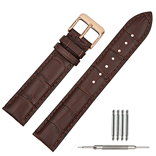 TStrap 18mm Brown Leather Watch Band Replacement Watch Strap 18mm Rose Gold Buckle Clasp