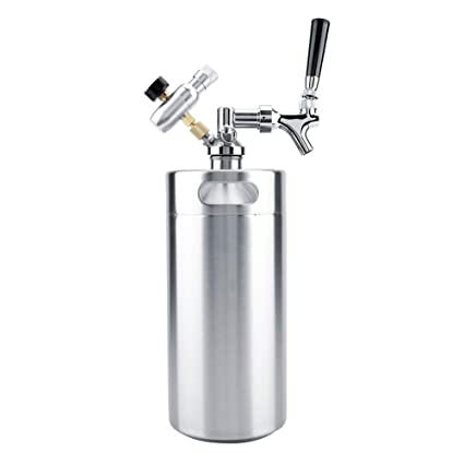 TOPINCN Cerveza Cervecera Barril Mini Acero Inoxidable Portátil Saludable con Grifo Presurizado Home Party Craft Sistema