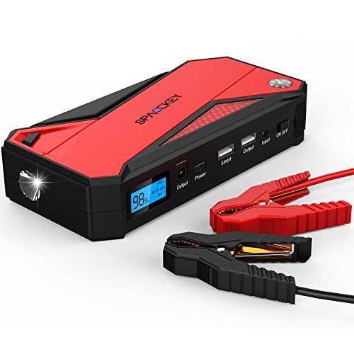 Package Power Red (Powerful Jump Starter, 600A Peak 18000mAh Portable Car Jump Starter (Up To 6.5liter Gas, 5.2liter Diesel Engine), Battery Booster, Power Bank Charger with Smart Charging Port)