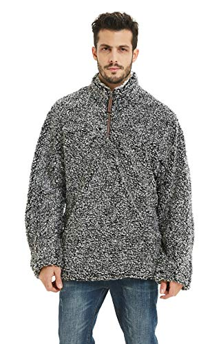 Gyryp Fleece Sherpa Pullover Hoodie Mens 1/4 Zip Pullover Frosty Pile Tipped Stadium Sweater ()