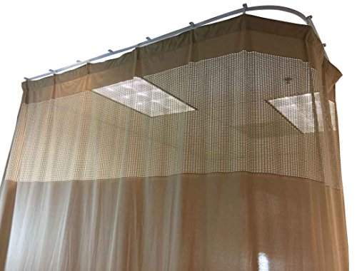 (DevLon NorthWest Medical Curtains Privacy Hospital Cubicle Curtain With Flexible Track 10 Foot W x 9.3 Foot H Light Brown)