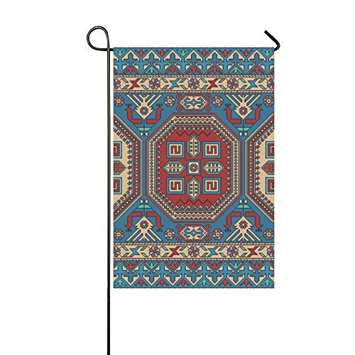Home Decorative Outdoor Double Sided Colorful Oriental Mosaic Kazak Rug Traditional Garden Flag,house Yard Flag,garden Yard Decorations,seasonal Welcome Outdoor Flag 12 X 18 Inch Spring Summer Gift
