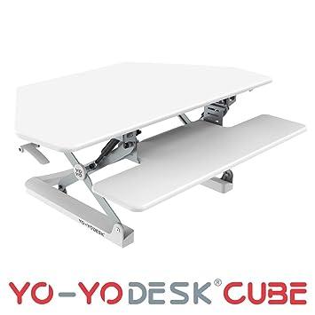 Yo Yo Desk Cube Weiß Sitz Steh Schreibtisch Steharbeitsplatz