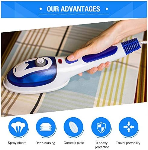 NZHK Steamer for Clothes, Steam Iron Portable Garment Steamer Handheld Steamer, 30s Fast Heated Up for Home And Travel with Two Removable Brush,Purple