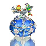 YUFENG Vintage Love Bird Jewerly Trinket Box Faberge Egg Jeweled Box Decor Jewelry Holder Organizer