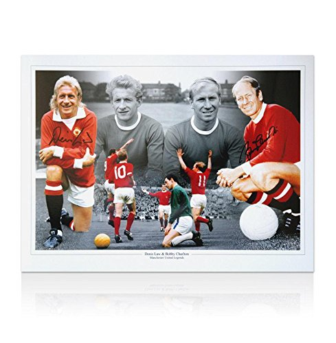 Denis Law & Sir Bobby Charlton signed photo - Manchester United Legends - Autographed Soccer Photos