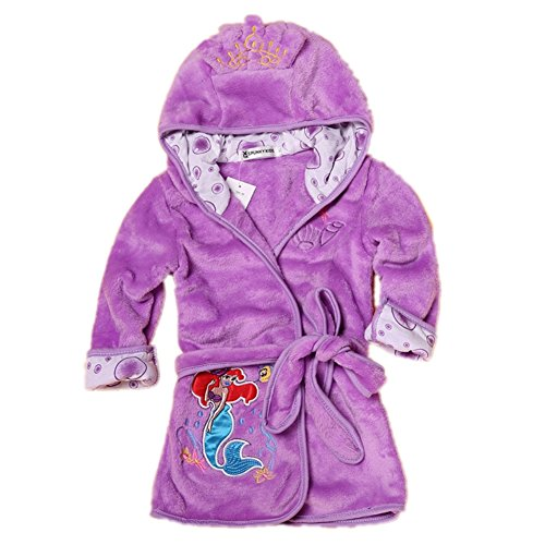 - Fankeshi Kids Little Boys Girls Hooded Pajamas Cartoon Animal Bath Robes (Purple, 130: 6T)