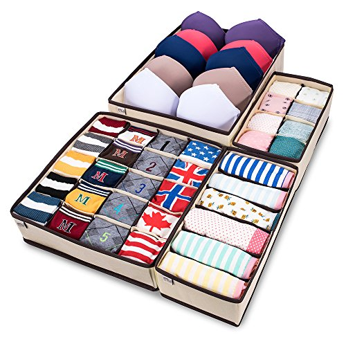 - MIU COLOR Foldable Closet Underwear Organizer Drawer Divider Storage Boxes Under Bed Organizer 4 Set for Underwear, Bras, Socks, Ties, Scarves