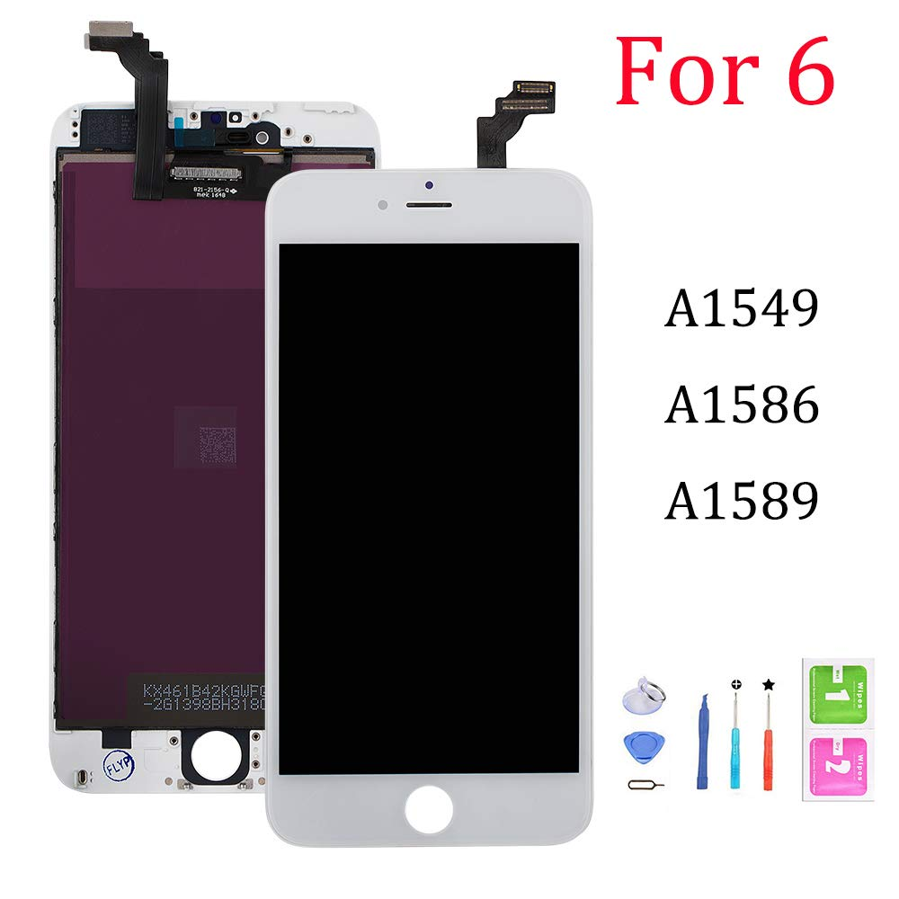 Screen Replacement for iPhone 6, Digitizer Display with LCD Touch Screen Glass Frame Assembly for iPhone 6 4.7 inch- White by QTlier