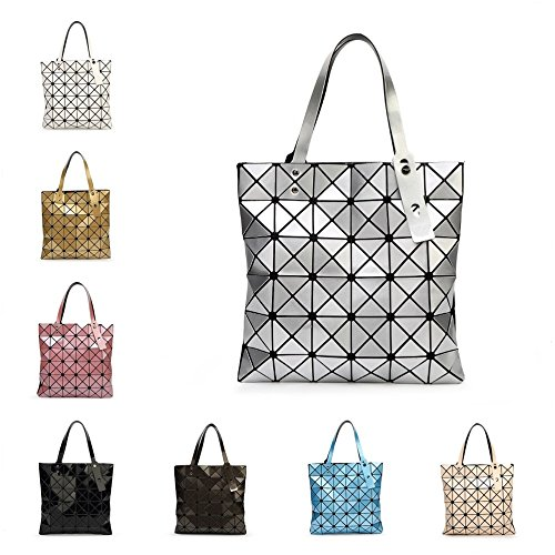 Gel Laser Women Shape Diamond Geometric Silver Sliver Bag Handbags Bao Baobao Black Silica Bao Shoulder Tote one Size Paint Patchwork E7xCF0q