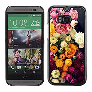 LASTONE PHONE CASE / Slim Protector Hard Shell Cover Case for HTC One M8 / Roses Bouquet Pink Yellow