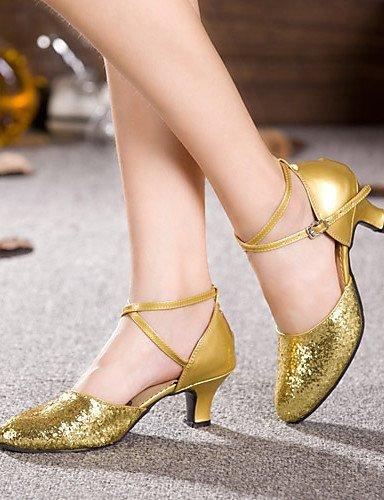 Latine Or ShangYi Non personnalisable danse de Silver Verni Argent Chaussures Paillette talon Cuir Gros 7gw7qpR