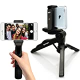 iGadgitz 2 in 1 Pistol Grip Stabilizer and Mini Lightweight Table Top Stand Tripod + Universal Smartphone Holder Mount Bracket Adapter