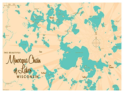 Minocqua Chain Wisconsin Vintage-Style Map Art Print Poster by Lakebound (9