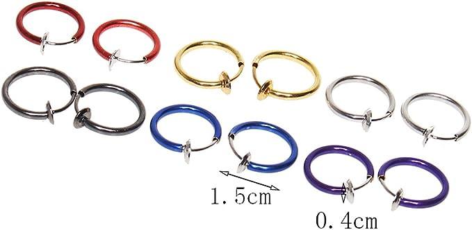 naso anello orecchio labbra clip monili del corpo Sicai 12 pezzi orecchini finti cerchio cerchi dellorecchio non trafitto 6 colori