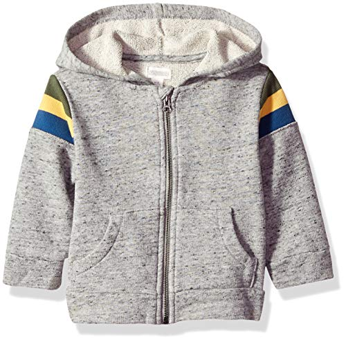 Gymboree Baby Boys Long Sleeve Zip Up Jacket, Grey Striped Ribbed Shoulder 3-6 Mo ()