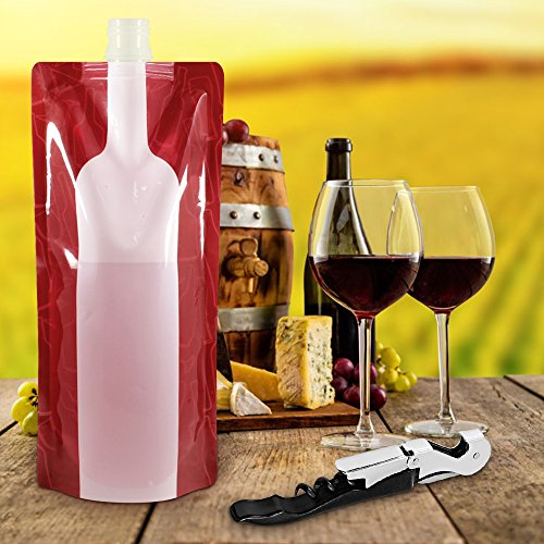 Foldable wine bag 750 ml portable reusable plastic wine - Amazon porta vino ...
