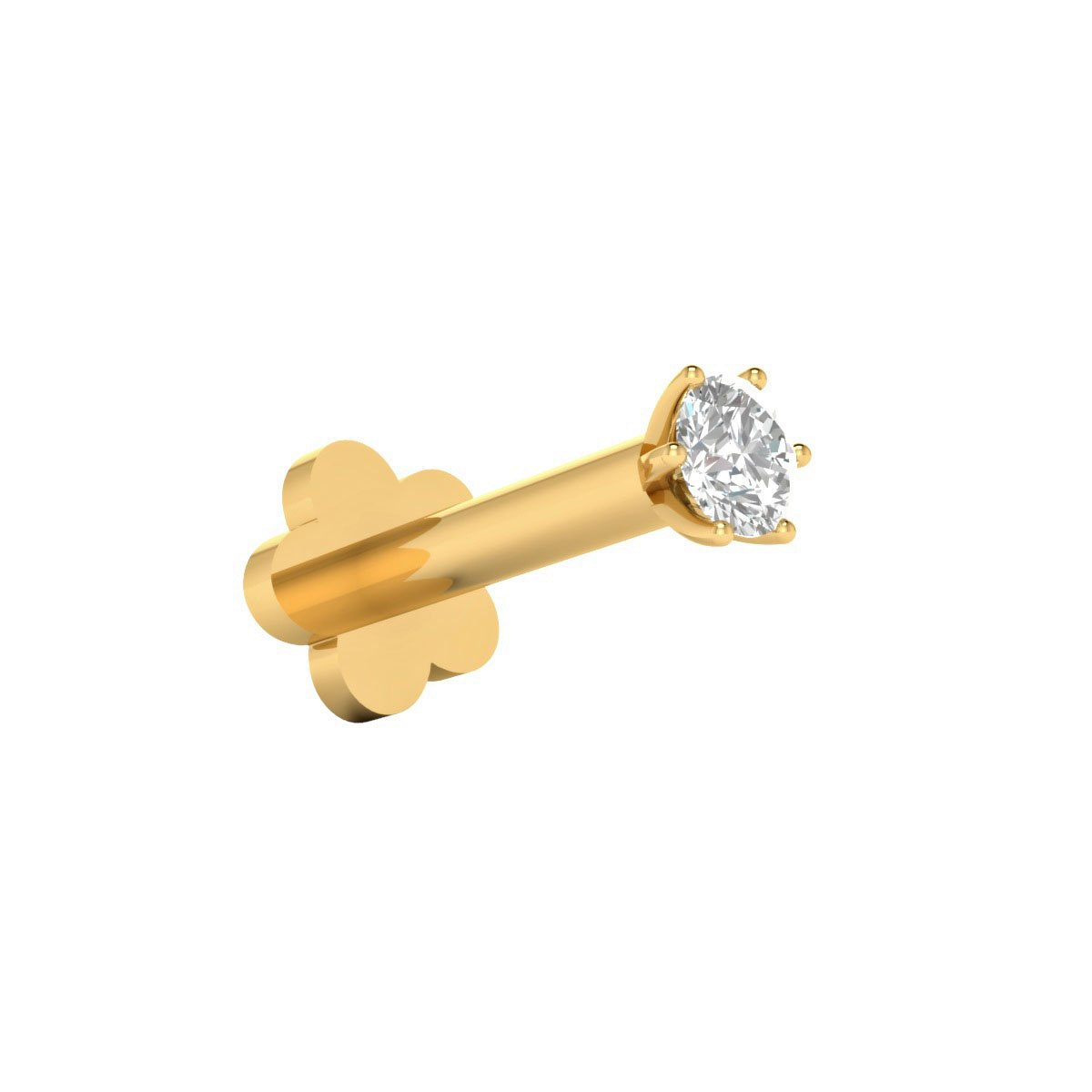Animas Jewels DGLA Certified 14k Yellow Gold Solitaire Stud Nose Pin for Women 0.02 Cttw Natural Diamond (G-H Color. I1 Clarity) Round Cut 6-Prong Setting Available 8 mm Length Gifts by Animas Jewels
