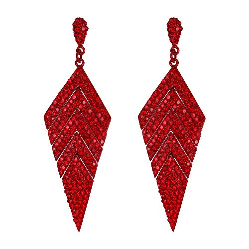 EVER FAITH Women's Crystal Elegant Banquet Multi-layered Rhombus Dangle Pierced Earrings Red Red-Tone