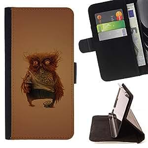 For HTC One M9 - Funny Weird Owl /Funda de piel cubierta de la carpeta Foilo con cierre magn???¡¯????tico/ - Super Marley Shop -