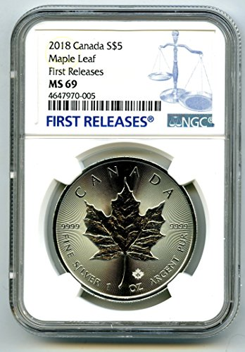 2018 CA CANADA 1 OZ SILVER MAPLE LEAF RARE FIRST RELEASES BLUE LABEL $5 MS69 NGC