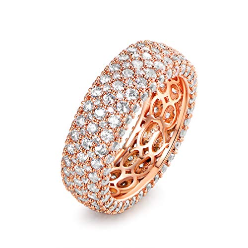 Barzel 18k White Gold or Rose Gold Plated Cubic Zirconia Eternity Band Ring Cocktail Jewelry (Rose Gold Wide, 7)