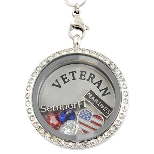 Marine Veteran 30-mm Floating Charm Locket on 30-inch - Customize Your Glasses Own
