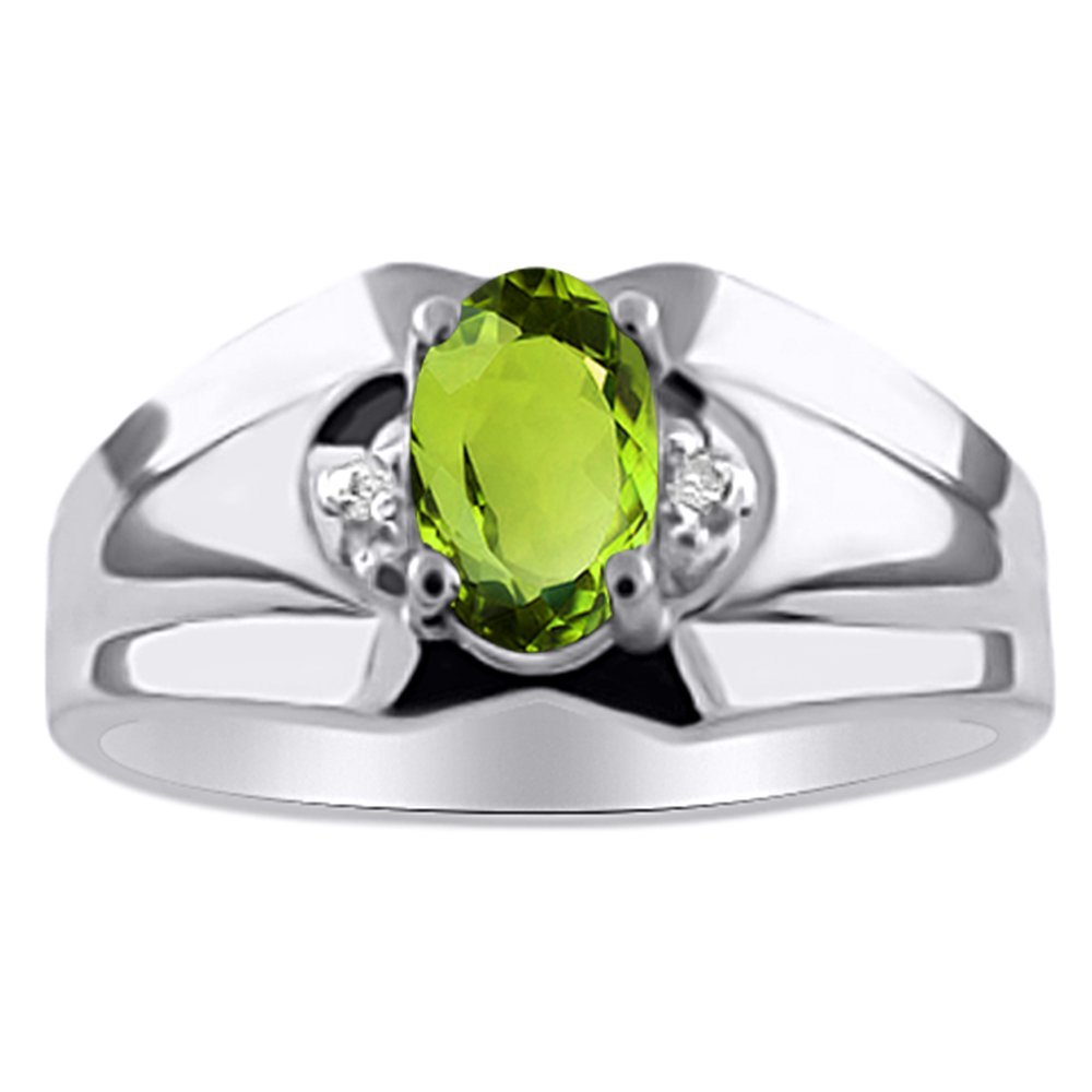 Birthstone Ring Sterling Silver or Yellow Gold Plated Silver Peridot /& Diamond Ring