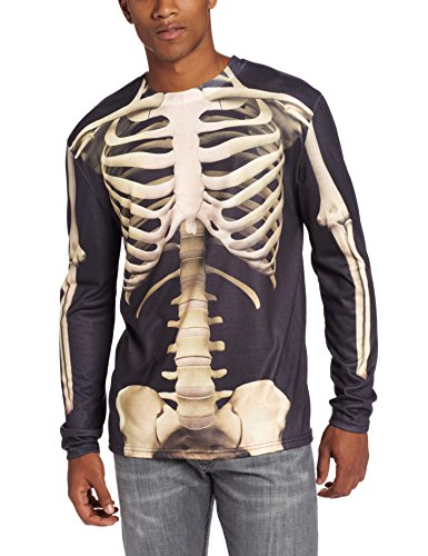 Faux Real Men's Skeleton Halloween T-Shirt, Multi, Small ()