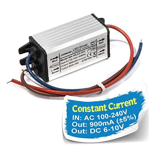 Chanzon LED Driver 900mA (Constant Current Output) 6V-10V (Input 100-240V AC-DC) (2-3) x3 9W 10W IP67 Waterproof High Power Supply 900 mA Lighting Transformer Drivers for 10 W COB Chips (Aluminium)