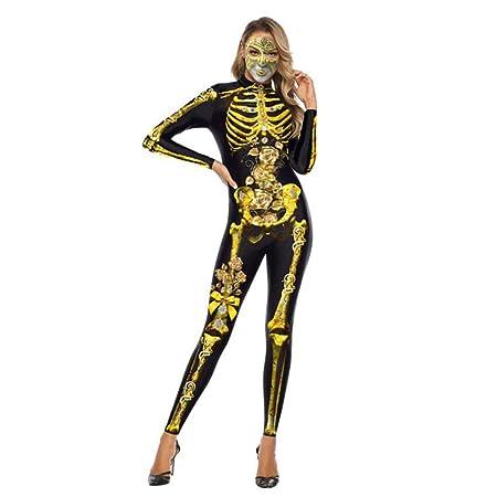 XIONGDA Disfraz de Cosplay de Halloween Esqueleto de Terror ...