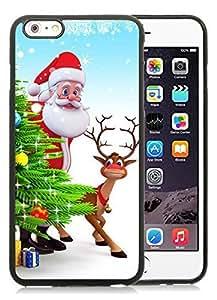 Diy Design iPhone 6 Plus Case,Santa Claus and deer Black iPhone 6 Plus 5.5 TPU Case 2