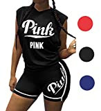 2 Piece Outfits for Women, Letter Print Tank Top and Short Pants Tracksuits Set (Black, Medium)