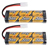 Flylinktech 2 Pack 7.2V 5000mAh NiMH Rechargeable Batteries For RC Cars,Electric Rc Monster Trucks,Traxxas, LOSI, Associated, HPI, Tamiya, Kyosho With Tamiya Connectors