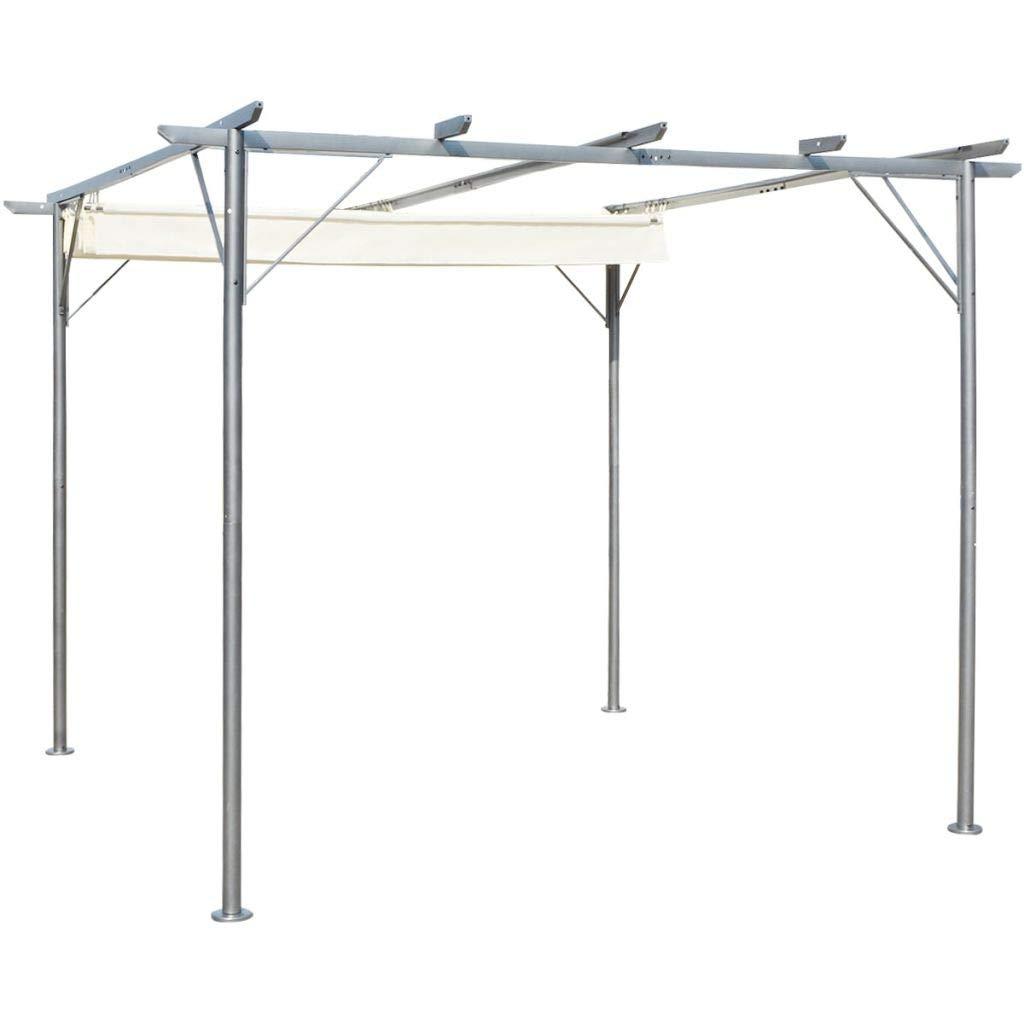 Daonanba Pergola with Retractable Roof Durable Outdoor Sun Shade Steel