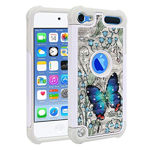 FINCIBO Case Compatible with Apple iPod Touch 5 6th Generation, Dual Layer Shock Proof Hybrid Protector Case Cover TPU Rhinestone Bling for iPod Touch 5 6 - Vintage Crowned Hairstreak Butterfly