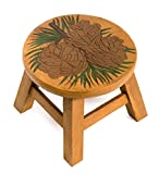 Plow & Hearth Hand-Carved Acacia Wood Pine Cone Footstool, Functional and Decorative, 13 dia. x 13 H