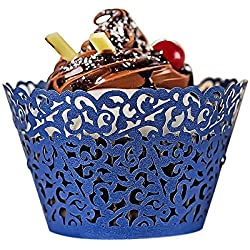 YOZATIA 60PCS Standard Navy Blue Cupcake Wrappers, Laser Cut Vine Cupcake Decorative Liners for Party Supplies (Navy Blue)