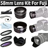 58mm All In Lens Kit For Fuji FujiFilm FinePix HS20 EXR, HS30EXR, HS30 EXR, HS25EXR HS25 EXR, X-E1, HS50EXR, X-T1 Camera Includes .43x Wide Angle Lens + 2.2x Telephoto Lens + Multi-Coated 3Pc. Filter Kit (UV, CPL, FLD) + Lens Hood + Lens Cap Keeper + More